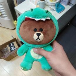 Wholesale Dinosaur Toy Pig - 23cm New Korean Brown Bear Soft Kawaii Stuffed Animal Tiger Giraffe Pig Dinosaur Style Plush Toys Gifts