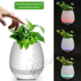 Wholesale Decoration Metal Flower Pot - Mini Flower Music Pot Plastic Bluetooth Speaker Decoration With Built in Battery Office Decor Planter Colorful Light Creative Loudspeakers