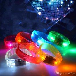 Wholesale Led Disco Music Activated Lights - 2017 Newest Music Activated Sound Control Led Flashing Bracelet Light Up Bangle Wristband Night Club Activity Party Bar Disco Cheer