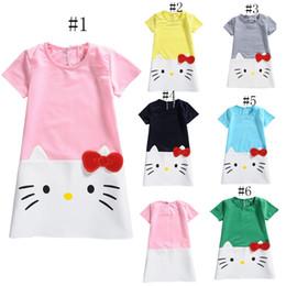 Wholesale Girls Kitty Dresses - New baby girls Kitty princess dress summer kids cartoon KT Dresses C2229