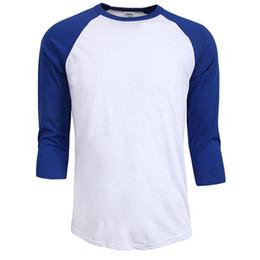 Wholesale autumn shirt men - Hot sale summer autumn Men O-Neck 100% Cotton T-shirt Men's Casual Sleeve Tshirt Raglan Jersey Shirt man