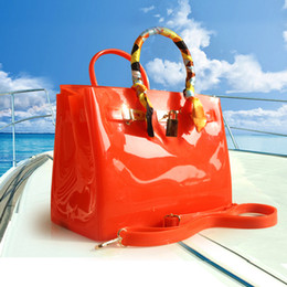Wholesale pink ribbon women - SUNNY BEACH High quality luxury fashion summer beach bag jelly candy color bag women tote casual lock bag purse bolsas office handbags
