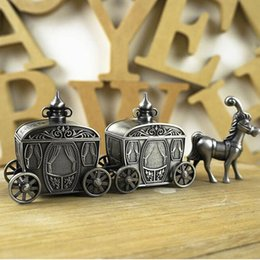 Wholesale Curling Vintage - Newborn Baby   Family Gift First Tooth and First Curl Boxes Metal Artcraft Trinket Box Vintage Horse Design Gifts ZA3216