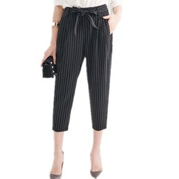 Wholesale Trousers Women Elegant - 2017042339 Casual Women Striped Harem Pants Elegant Trousers Mid Waist OL Pants Bowtie Design Slim Office Lady Trousers