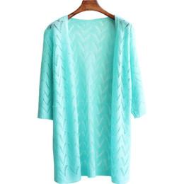 Vêtements de climatisation en Ligne-En gros-été printemps nouveau lâche cardigan en tricot longue chemise de soleil mince creuse air conditionné chemise chandail femmes vêtements vestes LXJ235