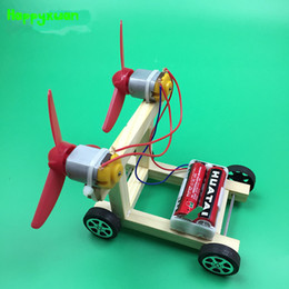Wholesale powered model cars - Happyxuan DIY Wind Power Vehicle Car Model Kit Double Wings Handmade Scientific Experiments Education Toys for kids