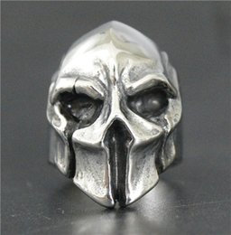Wholesale Silver Party Masks - 2017 New Fashion Jewelry Spartan Helmet Shield Ring 316L Stainless Steel Polishing Silver New Gift Cool Mask Warrior Ring