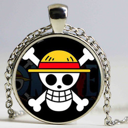 Collar de anime de una pieza online-Collar caliente ONE PIECE MONKEY D LUFFY Anime Cráneo colgante Bandera pirata collar de metal Cosplay Anime Necklace