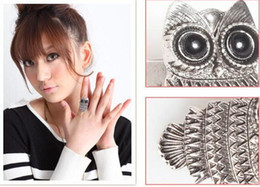 Wholesale Bronze Owl Ring - Top quality vintage Style (Bronze\ silver ) Owl Ring jewelry finger rings for women 500pcs