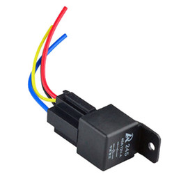 Wholesale Wholesale Automotive Wire - 1Pc 12V 12Volt 40A Auto Automotive Relay Socket 40 Amp 4 Pin Relay & Wires M00003 VPRD