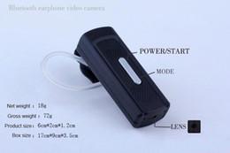 Wholesale Video Camera Headset - bluetooth headset Video Camera HD 720P Earphone Spy Hidden pinhole Camera mini Audio Video Recorder Mini Camcorder with TF card slot black