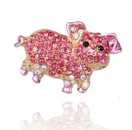 Canada Vente en gros-Nouveaux bijoux de mode belle animal rose cochon strass broches pour les femmes fille broche broche broche supplier wholesale pink scarf Offre