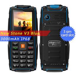 "Wholesale Three Sim Cards - Vkworld Stone V3 Rugged Daily Waterproof Shockproof phone IP68 Flashlight Power Bank 2.4"" 3000mAh Three SIM Outdoor mobile phone"