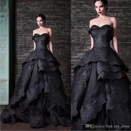 Wholesale Tie Up Back Wedding Gowns - New Gothic Black Wedding Dresses Vintage Sweetheart Ruffles Lace Tulle Ball Gown Sweep Train Tie up Back Bridal Gowns Custom BZ06