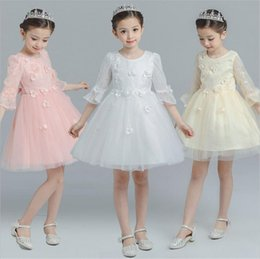 Wholesale Embroidery Stamps - Round colla Sleeve Lace dress Spring and summer clothing lace straps cute girls gauze dress Princess Wedding stamp tidal range kid285