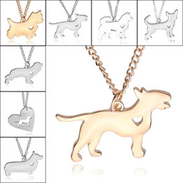 Wholesale Pet Acrylic - Best Friends Love Heart Dog Pendant Necklace Silver Gold Plated Pet Dog Necklaces for Women Fashion Jewelry Gift