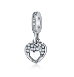 Wholesale Pandora Double Heart - Fits Pandora Bracelets 30pcs Silver Double Heart Crystal Dangle Charm Bead Pendant Charm Beads For Wholesale Diy European Sterling Necklace