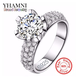 Wholesale Pave Flower - YHAMNI Original 925 Sterling Silver Wedding Rings For Women Romantic Flower Shaped Inlay 3 Carat CZ Diamond Engagement Ring Wholesale J2901