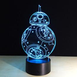 Wholesale Robot Animals - 201 B88 Robot 3D Optical Illusion Lamp Night Light DC 5V USB Charging AA Battery Wholesale Dropshipping Free Shipping