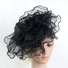 Wholesale Elegant Hair Flowers - Women Mutli-layer Flower Mesh Net Fascinator Bride Wedding Hat Black Pink White Elegant Hair Band Fascinator Hairbands Headwear 2017
