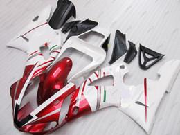 Wholesale Yamaha R1 White Body Kit - ABS Fairing for YAMAHA YZFR1 2000 Body Kits YZFR1 2001 White Red for FAIT Plastic Fairings YZF1000 R1 01 2000 - 2001