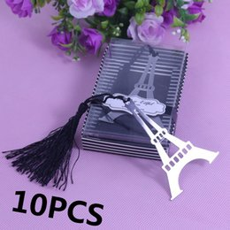 Wholesale Baby Bulk - Wholesale-10PCS Bulk Eiffel Tower Bookmarks For Party Wedding Giveaway Favours Boy Girl Baby Shower Souvenirs Favors And Gifts For Guests