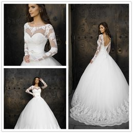 Wholesale White Ball Dress Sash - Charming 2017 Elegant Ball Gowns Long Sleeve Crystal Sashes White Lace Appliques Backless Wedding Dress Chapel Train vestido de noiva