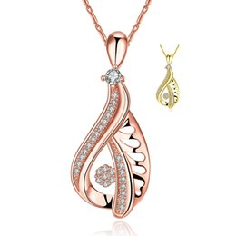 Wholesale 24k Rose Gold Chain - 24K Yellow Gold   Rose Gold Plated Pendant Necklace Hollowed Water Drop Shaped Inlaid CZ Zirconia Necklaces Women Beautiful Crystal Jewelry