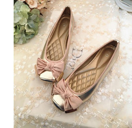 Wholesale Grey Dress Work Office - 2016 fall flat bow low lag for women's shoes work shoes for single shoes