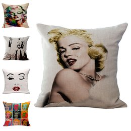 Wholesale Marilyn Monroe Throw - Sexy Women Marilyn Monroe Throw Pillow Cases Cushion Cover Pillowcase Linen Cotton Square Pillow Case Pillowslip Home safa Decor 240471