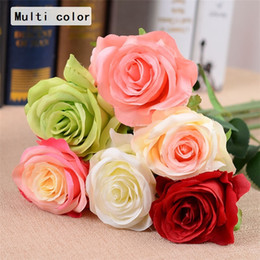 Wholesale Red Artificial Silk Wedding Flowers - Wholesale-Artificial roses Flower Fake Silk Single roses multi Colors for Wedding Centerpieces Home Party Decorative Flowers A0744