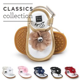 Wholesale Infant Girls Sandals - 6 colors Baby Girls flower thong sandal zoris pu soft sole toe-knob sandals infants summer cute fashion moccasins first walkers for 0-2T