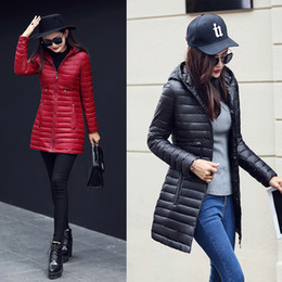 Wholesale Down Coat Ladies Pattern - 2017 top New Fashion Winter Women Down cotton Long Coat Hooded Down Jacket Ladies Parka S-XL