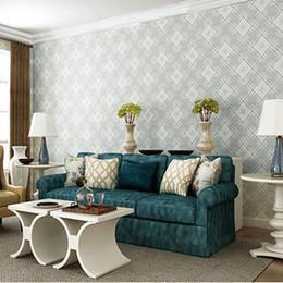 Wholesale England Paper - England Mediterranean Diamond Plaid Wallpaper Nonwovens Wall paper Light Gray Khaki Sky Blue Beige Blue Blue 0.53 * 10m Bedroom For Livi