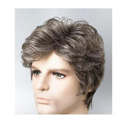 Wholesale Hair Wigs Short Blond - Middle-aged and old man white wig short curly hair fleeciness Grandpa father western stage peruca high quality blond closure haiCosplay Wigs