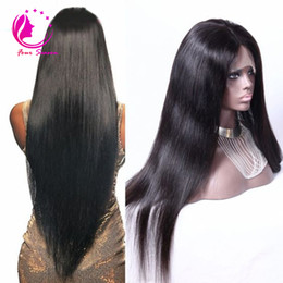 Wholesale Glueless 22 Inch Lace Wig - long silky straight lace front wig 12-28 inch human hair glueless full lace wig bleached knot baby hair around for black women
