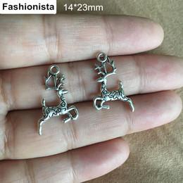 Wholesale Deer Silver Alloy Charms - Bulk 200 Pcs Antique Silver Deer Charms 14*23mm Christmas Deer Charms Metal Alloy Reindeer Christmas Charms