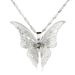 Wholesale Necklace Tip - 2017 new hot jewelry 925 silver hollow tip butterfly necklace pendant high-grade silver butterfly water ripple necklace