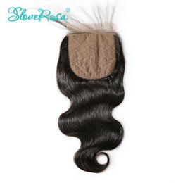 Wholesale Side Part Closures - Slove Remy Hair 4x4 Silk Base Closure Body Wave Human Hair Brazilian Silk Closure Free Part Bleached Knots With Baby Hair
