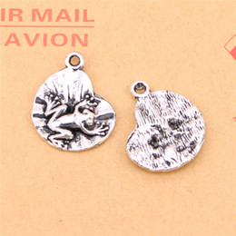 Argentina 113 unids plata tibetana plateado rana en cojín de lirio colgantes de los encantos para la fabricación de joyas artesanía hecha a mano bricolaje 18 * 17 mm cheap silver frog jewelry Suministro