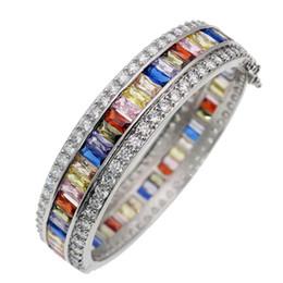 Armreif Manschette Weiß Topaz 925 Sterling Silber Natürliche Amethyst Granat Kunzit Peridot Saphir Frauen Armbänder Schmuck von Fabrikanten