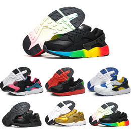 Wholesale blue baby shoes - Air Huarache V1 Kids Running Shoes Portable Children Athletic Shoes Boys Girls Sports Shoes Baby Training Sneaker Black White Red Blue