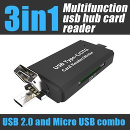 Wholesale Usb Card Reader Writer - USB sd card reader type-c micro usb compatible 2.0 1.1 support OTG writer for pc and smart mobilephones android phone