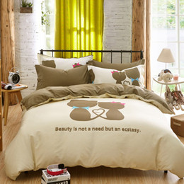 Wholesale White Full Bedroom Set - Wholesale- bedding set 4pcs duvet cover set cartoon cats for lovers or children' bedroom twin full queen single double size free shipping