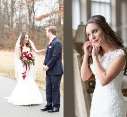 Wholesale Gold Decals - 2017 New White Satin Mermaid Wedding Dress Lace Decals Mermaid Skirt Ball Gown Weddingdress Turkey Beaded Sequin Bridal Wedding Gowns