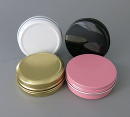 Wholesale Wholesale White Glass Cosmetic Jars - 100pcs Aluminum Jars 60ml Black Gold White Pink Metal Tin 2oz Cosmetic Containers Crafts