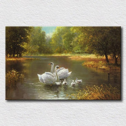 Wholesale Lake Wall Art - Swans swim in the lake landscape oil painting HD printed painting on canvas modern wall art decoration for home living room