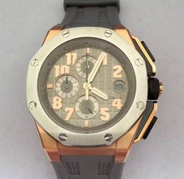 Wholesale Offshore Strap - Luxury AAA Top Quality Offshore Brand New 18k Rose Gold Quartz Chronograph Mens Sport Watch Smoke Grey Men's Wrist Watches Rubber Strap.