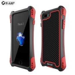 Wholesale Gorilla Glass Iphone Cover - case music R-JUST AMIRA Waterproof Shockproof Metal Case for iPhone 7   7 Plus Carbon Fiber Gorilla Tempered Glass Aluminum Armor Cover