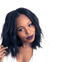 Wholesale Medium Length Hair Wigs - WoodFestival short curly synthetic hair wigs medium length wig for women heat resistant natural black with free hair net